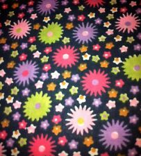 Print Scrub Top Spikey Colored Flowers on Black BG by Scrubtime 6XL