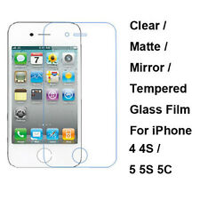 Tempered Glass / Clear / Matte / Mirror Screen Protector For iPhone 4 4S 5 5S 5C