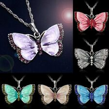 Beauty 70s 80s Retro Butterfly Crystal Rhinestone Silver Plated Pendant Necklace