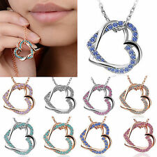 Nice Double Heart Crystal Rhinestone Silver Gold Plated Chain Pendant Necklace