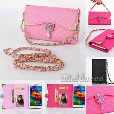 Handbag Bling Wristlet Leather Flip Wallet Case for Samsung Galaxy Cell Phone