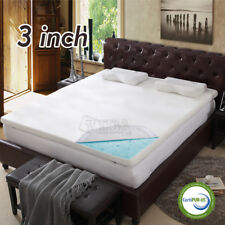 "3"" inch Cool Gel Memory Foam Mattress topper pad twin full queen king with cover"