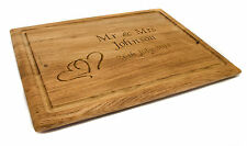 Personalised Oak Chopping Board, Laser Engraved Wedding or Valentines Day Gift