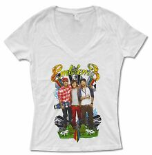 EMBLEM 3 DOODLE PHOTO WHITE V-NECK BABY DOLL T-SHIRT NEW MUSIC OFFICIAL JUNIORS