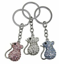 Diamantes Mouse Blue Pink Keyring or Silver Blue Pink Brooch Lapel Pin