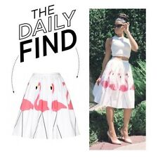 ALICE OLIVIA Hale Flamingo Puff Midlength Skirt  stretch-cotton NEW AUTH $297