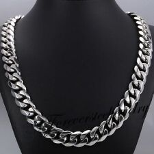 """15mm 316L Stainless Steel Heavy Link Silver Curb Cuban Chain Men Necklace 8""""-36"""""""