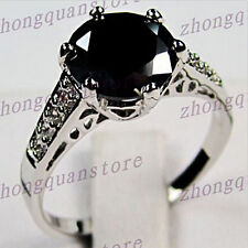 Jewelry Ring sz6/7/8/9 Fashion Black Sapphire Lady's 10KT White Gold Filled Free