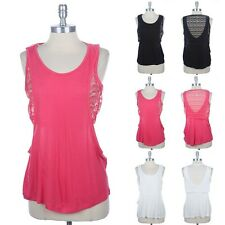 Lace Layered Upper Drop Armhole Tank Top Round Neck and Back Casual Rayon S M L