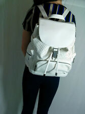 ♥New TOPSHOP Chic White Faux Leather Perforated Rucksack Backpack Bag RRP £36♥