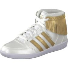 adidas Neo Hoops Fringe Mid Cut Trainers by Selena Gomez White & Gold Sneakers