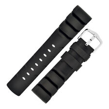 Hirsch EXTREME Natural Caoutchouc Rubber Dive Watch Strap and Buckle in BLACK