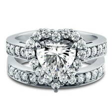 BERRICLE Sterling Silver Heart Shaped CZ Halo  Engagement Ring Set 2.82 Carat