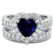 Silver Heart Shaped Simulated Sapphire CZ Halo  Engagement Ring Set 2.82 CT