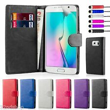 NEW PU Leather Book Case Wallet Cover Samsung Phones + Stylus & Screen Protector