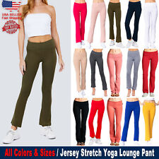 Yoga Athletic Fold Over Stretch Gym Casual Comfy Lounge Pants Regular Plus Size