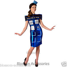 CL324 Dr Who Doctor Tardis Police Box Fancy Dress Up Womens Adult Costume Outfit