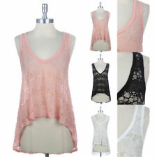 Lace High Low Hem Shirt Beach Tank Top Sleeveless Slight Racerback S M L