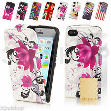 Design Flip PU Leather Wallet Case Cover + Screen Protector (iPhone & Samsung)