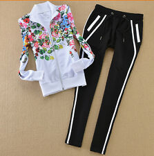 Womens Tracksuit Jogging Sports Training Gym Warm Up Suit Track Top Jacket Pants