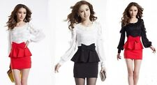 Spring 2014 Fashion new Korean Women Slim package hip dress lace stitching
