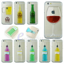 3D Cocktail Beer Wine Dynamic Quicksand Flowable Liquid Hard Back Case Cover