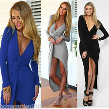 Womens Sexy Deep V Neck Front Knot Asymmetric Split Wrap Long Maxi Party Dress