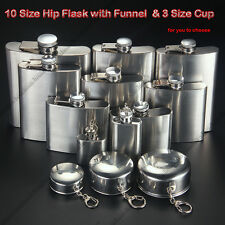 Portable Folding Cup Solid Stainless Steel Hip Flask Wine Pot with Funnel Gift