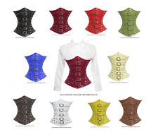Authentic Leather Full Steel Boned Heavy Lacing Underbust Shaper Corset #H8135