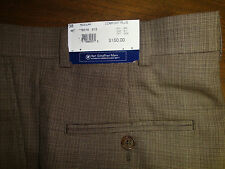 NWT $150 HART SCHAFFNER MARX WOOL DRESS PANTS MENS Sz 35 COMFORT PLEAT Brown NEW