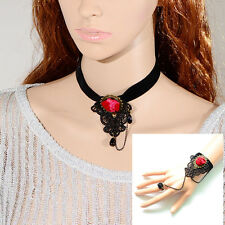 Gothic Black Vintage Lace Necklace Bracelet with Velvet Ribbon women fashion UK