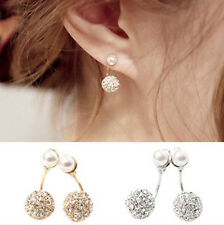 New Womens Fashion Elegant Pearl Rhinestone Ear Clip Ear Stud Earrings Jewelry