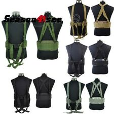 1X Molle Tactical Waist Padded Hunting Belt Airsoft W/ H-shaped Suspender Strap