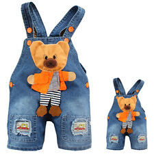 Baby Girls Boys Unisex Bear Denim Jeans One-pieces Rompers Playsuit Shorts Pants