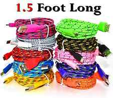 1.5' Foot Micro USB Cable Androids Samsung Galaxy Charging Sync Charger Cord lot