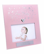 Personalised Pink & Silver Heart New Baby Girl Photo Frame Engraved Newborn Gift
