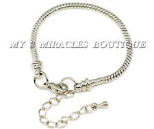 European Style Silver Snake Chain Charm Bracelet Lobster Clasp Adjustable Girls