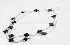 Brand New Ladies Black Clover Necklace Enamel Lucky  Clover Long Pendant UK DS