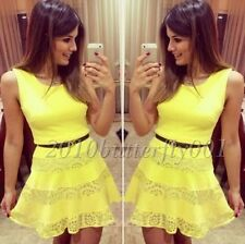 Women Summer Casual Sleeveless Party Evening Cocktail Short Mini Dress,Yellow