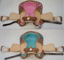 """NEW Double T 13"""" Western Saddle Alligator Print Accents in Pink or Teal"""