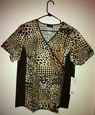 Print Scrub Top Mock Wrap Ladies Mixed prints by Cherokee Flex side panels