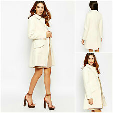 ♥WAREHOUSE Chic Cream Texture Princess Jacket Coat Size 6 8 10 12 14 16 RRP £95♥