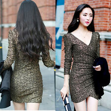 Women Slim Bandage Bodycon Long Sleeve Evening Sexy Party Cocktail Mini Dress