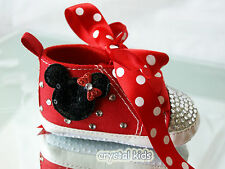 Baby Girls Reborn Red Bling Crystal MINNIE MOUSE Shoes Boots 0 - 12 mth 4 Sizes