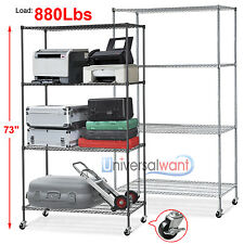 COMMERCIAL METAL STEEL ROLLING STORAGE SHELVING RACK CHROME WIRE SHELF CASTER