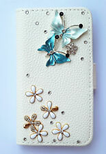 Diamond Butterfly Wallet Card Holder Leather Flip Case Cover For various phones