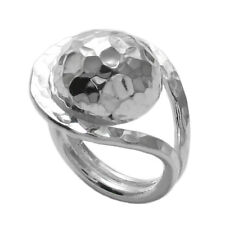 925 Sterling Silver Large Hammered Ball Women's Ring Size 6-9