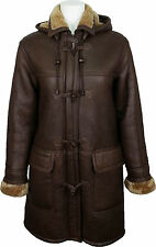UNICORN Womens Hooded Sheepskin Duffle Coat Brown/Ginger Fur Leather Jacket #CD