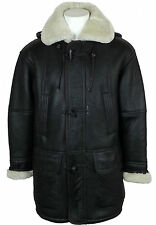 UNICORN Mens Hooded Sheepskin Duffle Coat Brown / Cream Fur Leather Jacket #CC