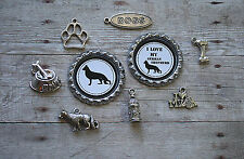 9pcs Silver German Shepherd Dog Breed Charm Set/Lot/Collection w/Bottle Caps